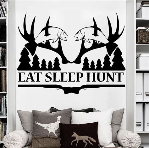 hunting home decor removable eat sleep hunt deer hunting wall sticker art