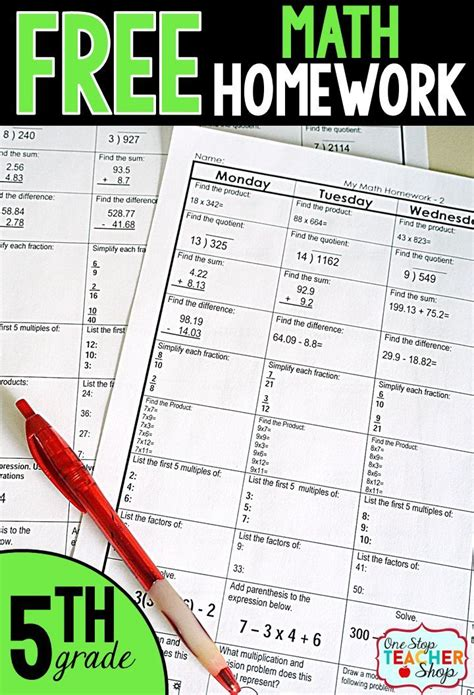 Homework Help For 5th Grader by Homework For 5th Grade Worksheet