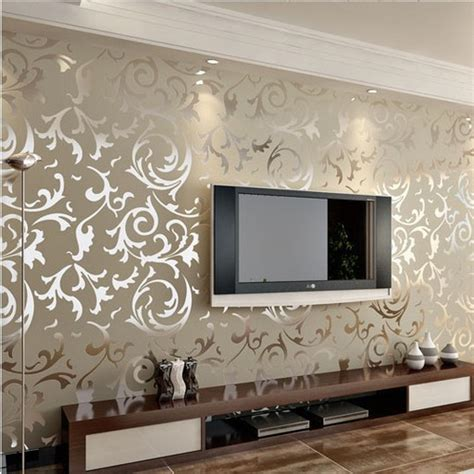 Living Room Paper Gold Silver Flock Velvet Damask Wallpaper