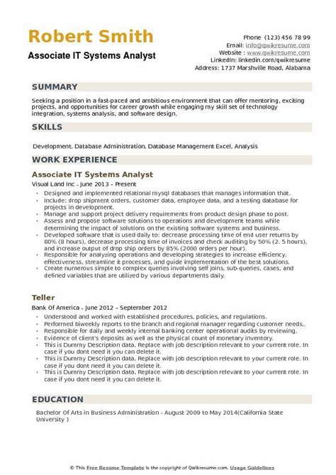 systems analyst resume exle it systems analyst resume sles qwikresume