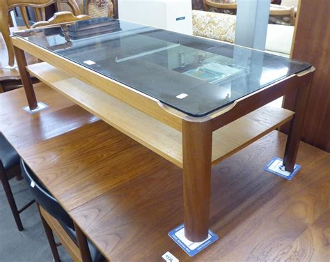 ss teak oblong coffee table  smoked glass