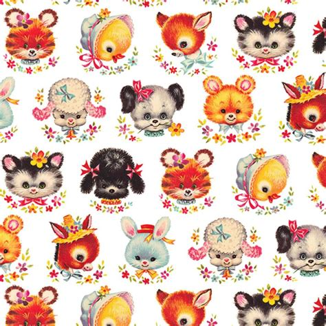 retro animal faces wrapping paper elfie childrens clothes