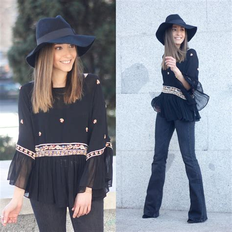 Zara Jumbo Blouse By Hana besugarandspice fv parfois hat zara blouse zara flared with boho blouse lookbook