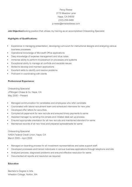 Onboarding Specialist Sle Resume by Resume Sles Sle Onboarding Specialist Resume