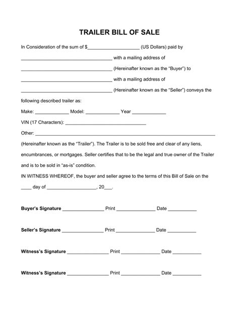 bill of sale template for trailer free trailer bill of sale form pdf word eforms
