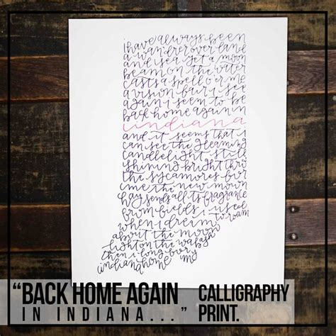 back home again in indiana calligraphy print crafts