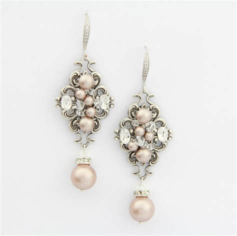 Bridal Chandelier Earrings With Pearls Blush Champagne Pearl Earrings Chandelier Wedding