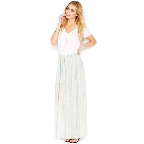 roy striped semisheer maxi skirt in green
