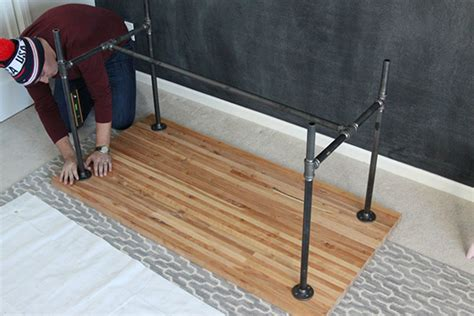 diy attach table legs how to build a workbench with butcher block and pipe