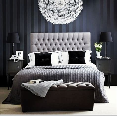 neat bedroom decor in navy and gray for the home
