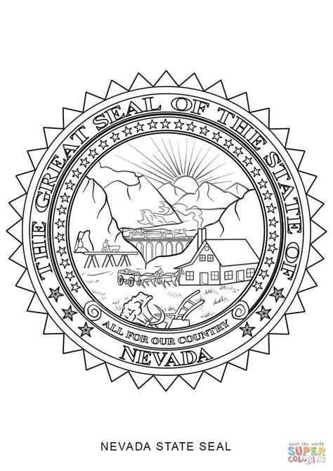 Nevada Search Nevada State Seal Coloring Page Free Printable Coloring Pages
