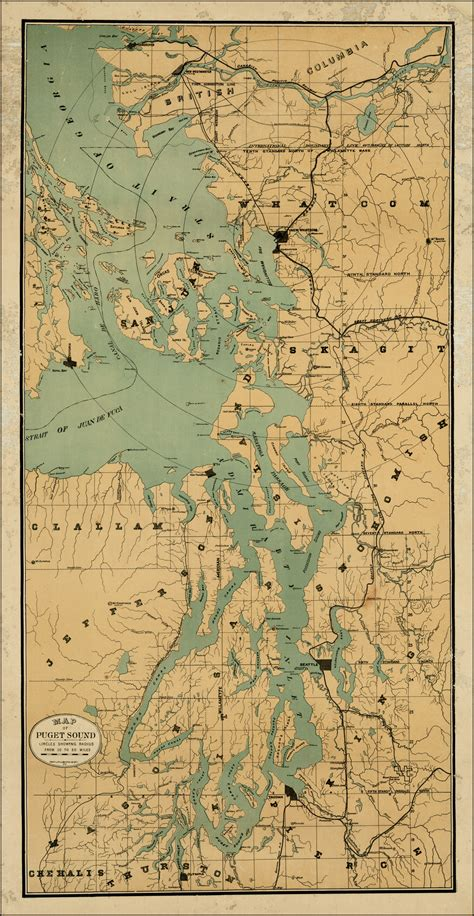 Map Of Puget Sound And by Map Of Puget Sound Circles Showing Radius From 10 To 50