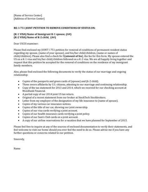 Sle Cover Letter For I 751 Removal Of Conditions by I 751 Sle Cover Letter The Best Letter Sle