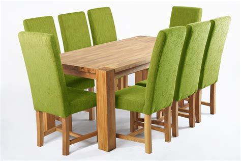 Kensington Green Dining Chair With Chunky Oak Legs