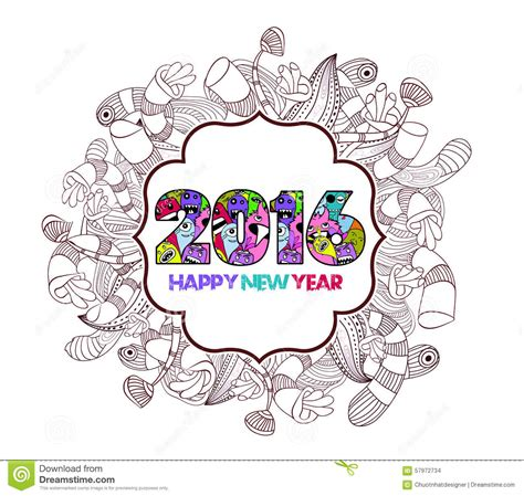 doodle happy new year happy new year 2016 doodle floral label background