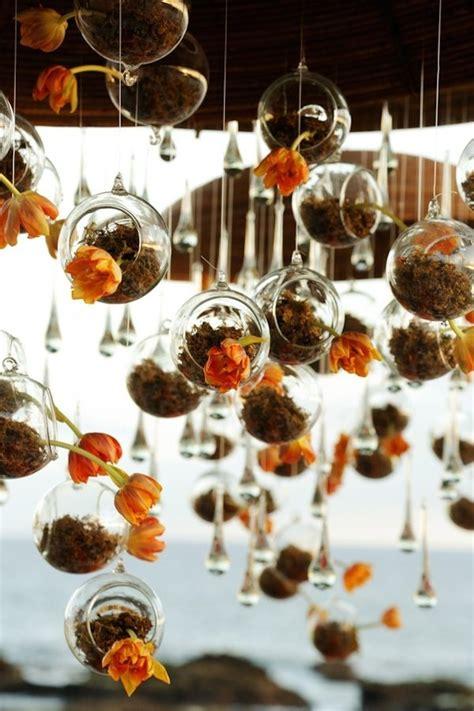 burnt orange hanging wedding terrarium glass orbs