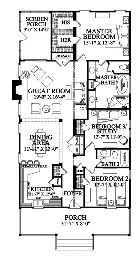 shotgun house floor plan architect pinterest narrow lot roomy feel hwbdo75757 tidewater house plan