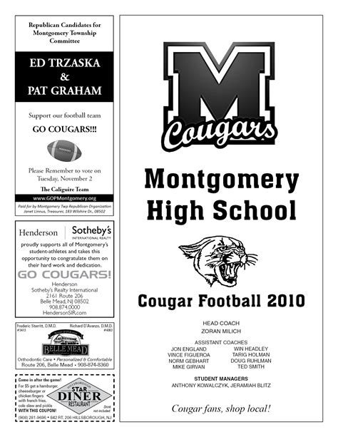 high school football program template day program 171 montgomery high school football