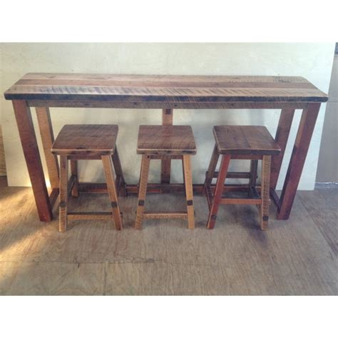 Rustic Bar Table Reclaimed Barn Wood Breakfast Bar Set Bar Height