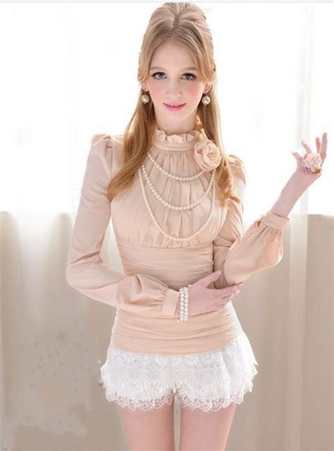 Blouse New Puff new ol fashion ruffled puff sleeve blouse with solid flower
