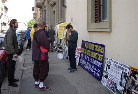 consolato cinese a firenze italia esposta la persecuzione falun gong al consolato