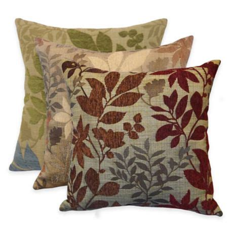 bed bath and beyond decorative throw pillows arlee home fashions 174 bristol chenille jacquard leaf square