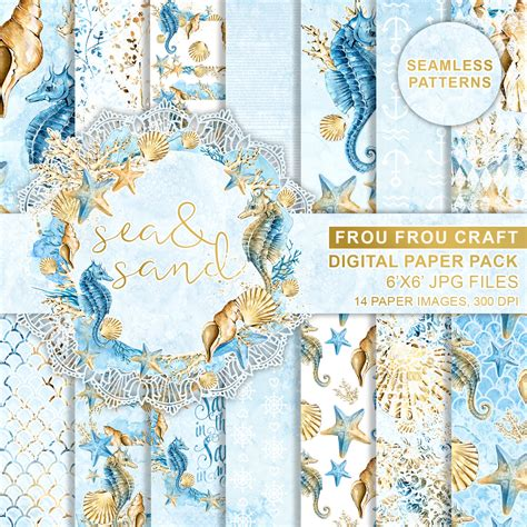 watercolor ocean pattern sea digital paper pack watercolor nautical seamless