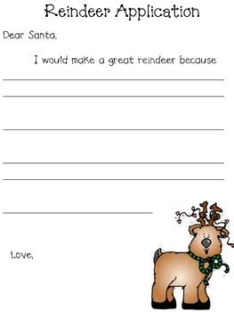 printable reindeer application reindeer application freebie by annde loyd teachers pay