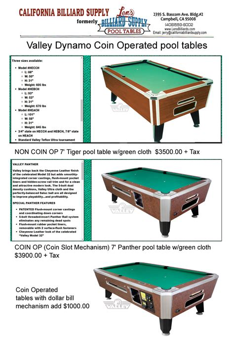 coin operated pool tables for lease coin operated pool tables california billiard supply