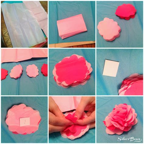 Make Tissue Paper Flower - silver boxes how to make tissue paper flowers