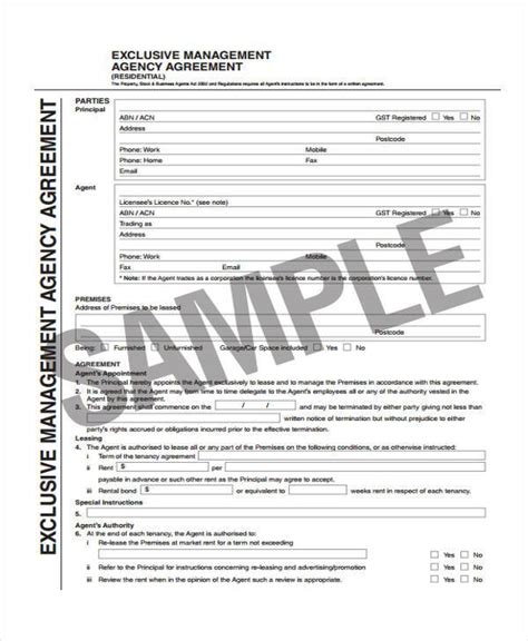 exclusive agency agreement template 6 exclusive agency agreement form sles free