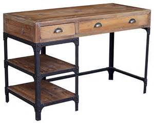 Industrial Wood Computer Desk Luca Reclaimed Wood Rustic Iron Industrial Loft Desk