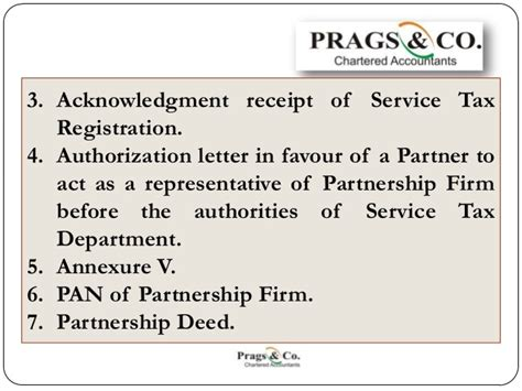 authorization letter format for service tax registration service tax registration documents required by partnership
