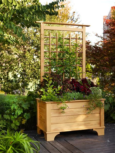 Planter Boxes With Trellis by Planter Box And Trellis Garden Ideas