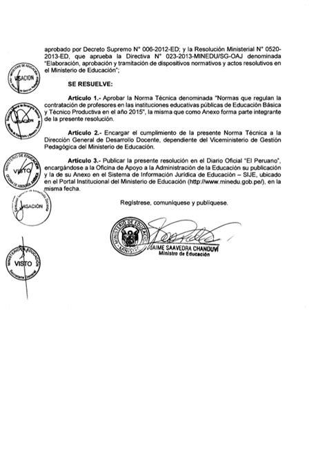 resolucion ministerial n199 2015 minedu rm023 2015 minedu contratodocente2015 150114175352