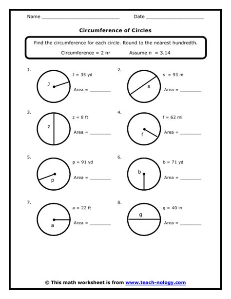 7th Grade Geometry Worksheets by Circumference Of Circles
