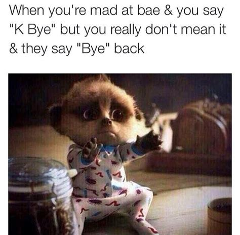 K Bye Meme - when you re mad at bae and you say k bye but you didn t
