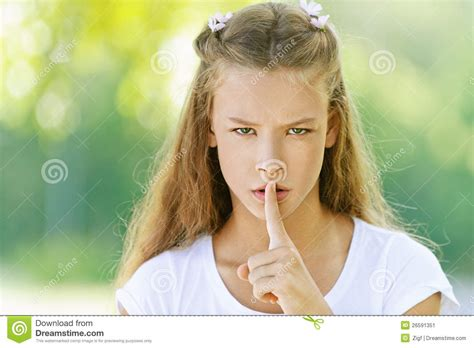index of tween stock image teenage girl raised index finger image 26591351