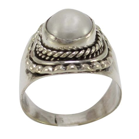 Handcrafted Ring - pearl 925 sterling silver ring band handcrafted