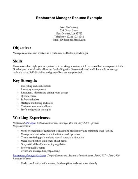 Restaurants Resume by Restaurant Manager Resume Exle Http Www Resumecareer Info Restaurant Manager Resume