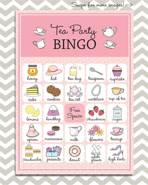 map themed games tea party bingo in pink 20 unique game cards printable