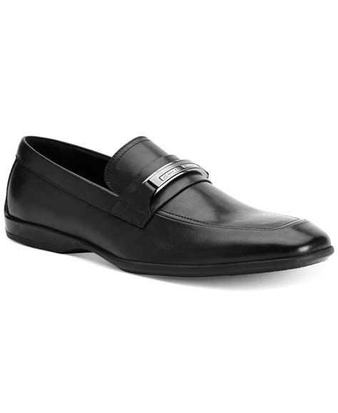 calvin klein loafers calvin klein vick leather bit loafers in black for lyst