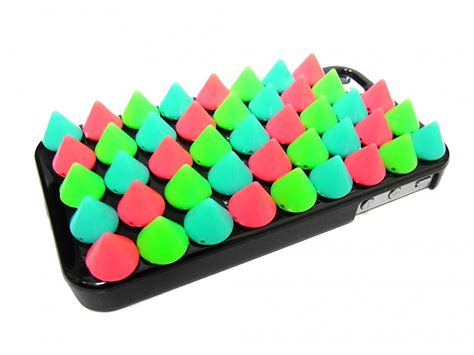 Painting Phone Plastic For Iphone 55sse B2 1 studded iphone 4 iphone 4g green blue spike stud iphone 4 plastic spike