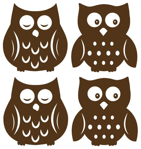 Nautical Themed Ceiling Fans - owl espresso silhouettes wall decal contemporary wall decals by wallpops
