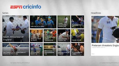 espncricinfo mobile site cricinfo espn cricinfo windows 8 app windows 8 cricket in the