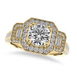 vintage square halo engagement ring 14k yellow