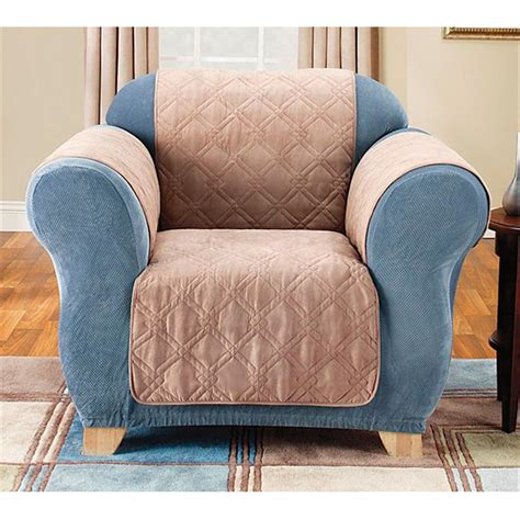 Quilted Recliner Covers Quilted Suede Furniture Slip Cover 227169 Furniture Covers At Sportsman S Guide