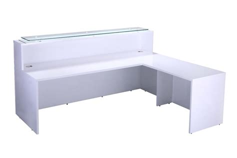 Gloss White Reception Desk Glossy Office Reality White Shiny Desk