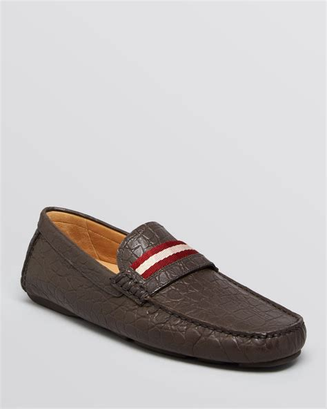 bally loafers sale bally wabler croc embossed driving loafers in brown for
