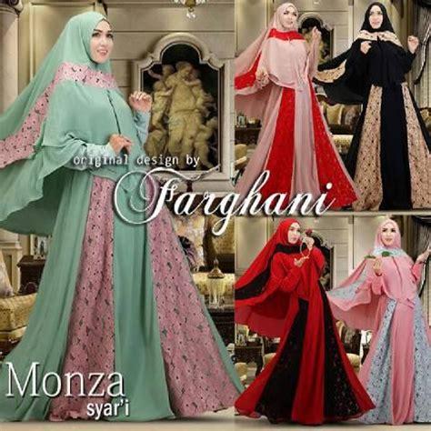Busana Muslim Syari Pesta model gaun baju pesta muslim brokat monza syari farghani